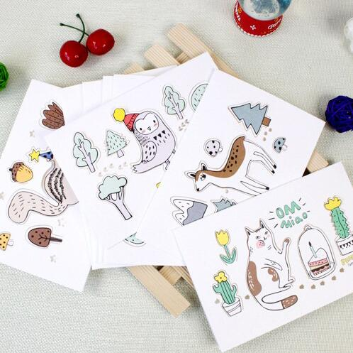 1pcs/pack White Paper Carved Three-dimensional Child Fun Animal Greeting Card With Envelope Eight Single Package