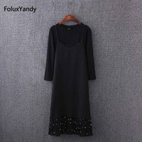 Dot Strap Dress Women Plus Size 3 4 5 XL Casual 2 Pieces Summer Style Pleated