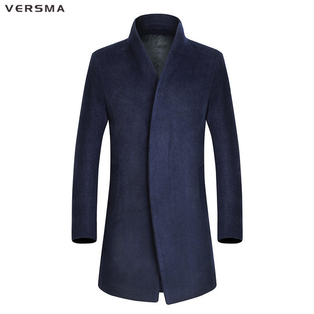 VERSMA 2017 Korean Desigual Men Extra Long Black Trench Coat Male ...
