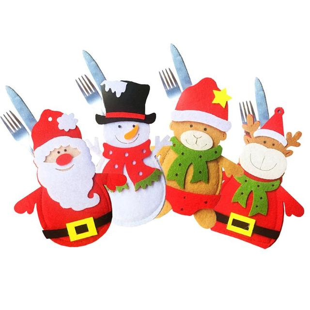 Christmas Knife Fork Cover Christmas Party Home Non-Woven Fabric Cartoon Tablewear Knife Fork Cover Christmas Tree Decoration