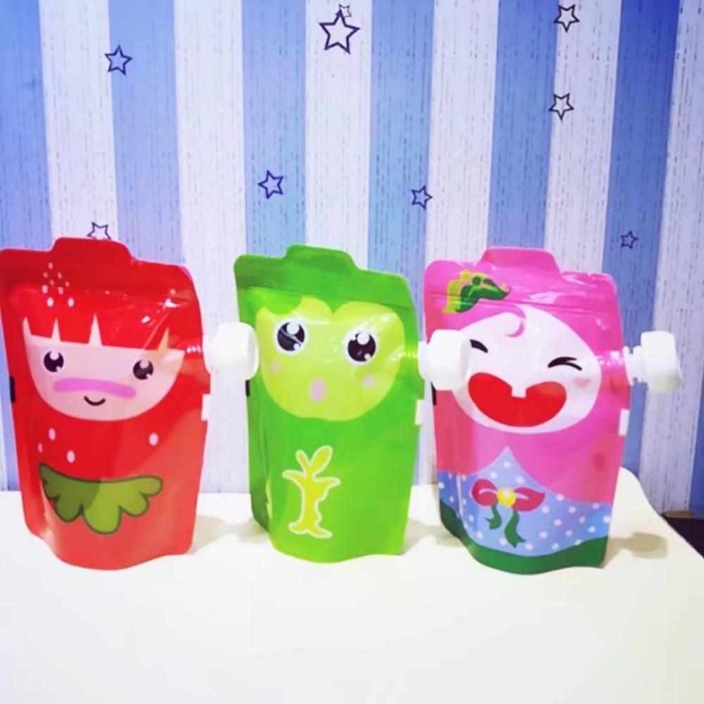 2017 Free shipping BPA FREE 5pc/lot Baby Beverage Cute Panda Cartoon Lactation Feeding Bag Plastic Reusable Pouch Cute Squeeze