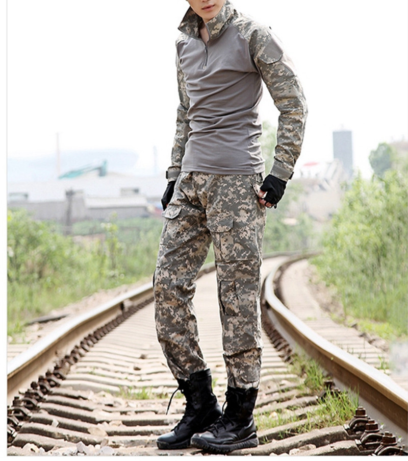 Military Tactical Army Uniform With Knee Pads Jacket Pants Suit Clothing Camouflage Sets Outdoor Hunting Combat