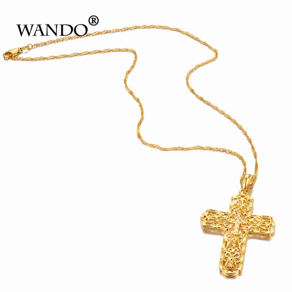 WANDO Cristo Grande colar de cruz de ouro e colar de cruz Cristã de hip hop jóias de presente de Natal, o homem ea mulher p31