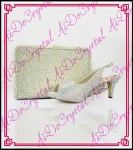 Aidocrystal latest design italian crystal shoes and bag set with low heels wedding crystal