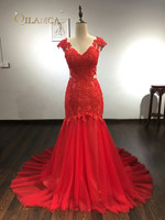 Sexy V Neck Lace Applique Red Mermaid Evening Dresses 2019 Custom made Sweep Train Formal Party Dress Robe De Soiree Longue