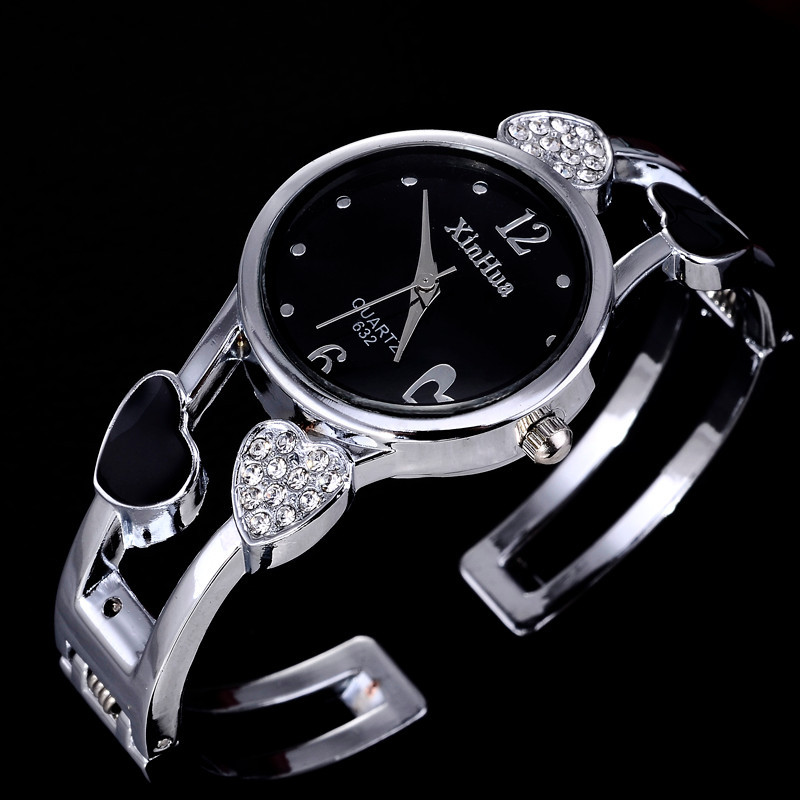 2019 Xinhua Fashion Watches Women Stainless Steel Bracelet Bangle Flower Lover Heart Shape Wristwatches Female Clock Relogios(China)