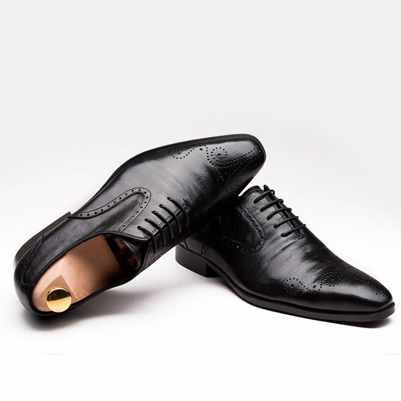 جديد أكسفورد الرجال الأحذية وأشار اصبع القدم الدانتيل يصل عالية الجودة جلد طبيعي الرجال الزفاف اللباس أحذية الرجال مكتب العمل أحذية حجم 37 44-في أحذية رسمية من أحذية على  مجموعة 2