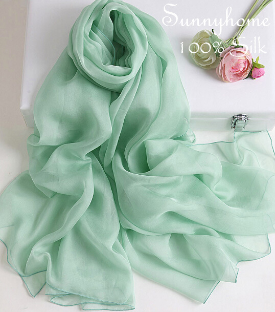 Fashion Men/'s Light Green 100/% Silk Solid Print Neck Scarf Long Soft Scarves