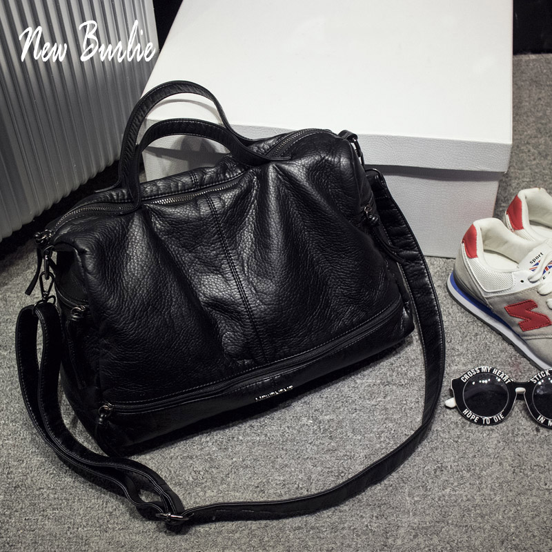 2019 Large Capacity Women Bag Shoulder Tote Bag Washed PU Motorcycle  Messenger Bags Casual Handbags Top-handle Bags Sac A Main