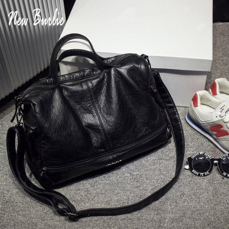 Large Capacity Bags for Women 2020 Shoulder Tote Bag washed PU Motorcycle Messenger casual handbags Top-handle bags Sac a main(China)
