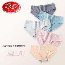 820ce63fc0 LANGSHA 4 unids lote ropa interior de algodón ropa interior de las mujeres  Sexy Braguita de encaje transpirable para chicas .
