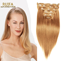 "Hot Clip In Human Hair Extensions 7A Brazilian Virgin Hair Straight 7Pcs/Set  Golden Blonde Clip In Hair Extensions 27# 16""-26"""