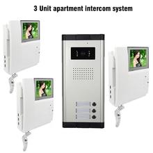 3 Units 4.3″ Apartment Video Door Phone Intercom System 1-Camera 3-Monitor Video doorbell for Apartment Video Doorphone Intercom