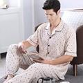Лето Мужчины Пижамы Наборы Пижамы Хлопка Геометрическая Коротким Рукавом Пижамы Отложным Воротником Гостиная Сна Повседневная Пижамы Плюс Размер