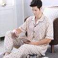 Conjuntos de Homens de Pijama de Algodão Pijamas de verão Geométrica Manga Curta Sleepwear Turn-Down Collar Salão Sono Pijama Casuais Plus Size