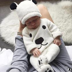 3 предмета, пуловеры с длинными рукавами для новорожденных девочек и мальчиков, топ, ползунки, шапка, комплект одежды, пушистая Милая зимняя ...