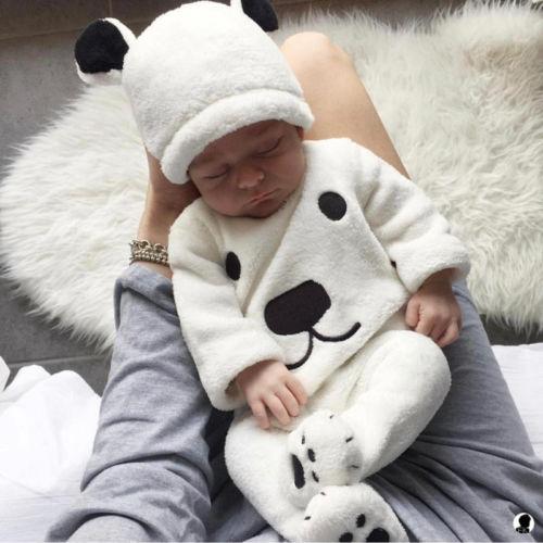3 unids bebé recién nacido Niñas Boy manga larga Jerséis superior Para los pies Pantalones trajes de sombrero set historieta Linda mullida invierno caliente ropa