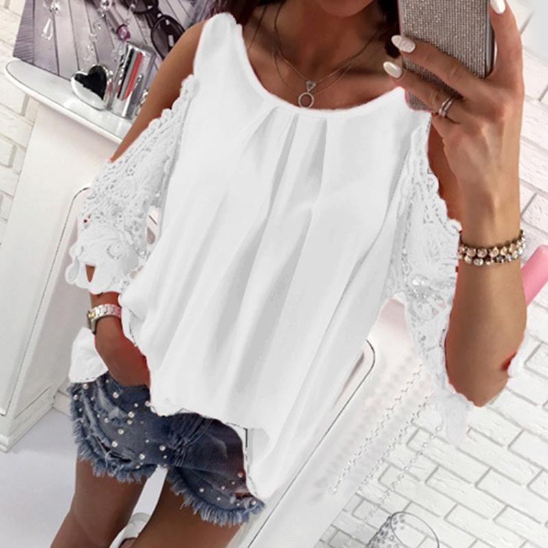 Women Blouse Shirt 2017 Summer Beach Casual Sexy Cold Shoulder Long Sleeves Hollow Out Ladies Mujer Tops Tee WS1360Y