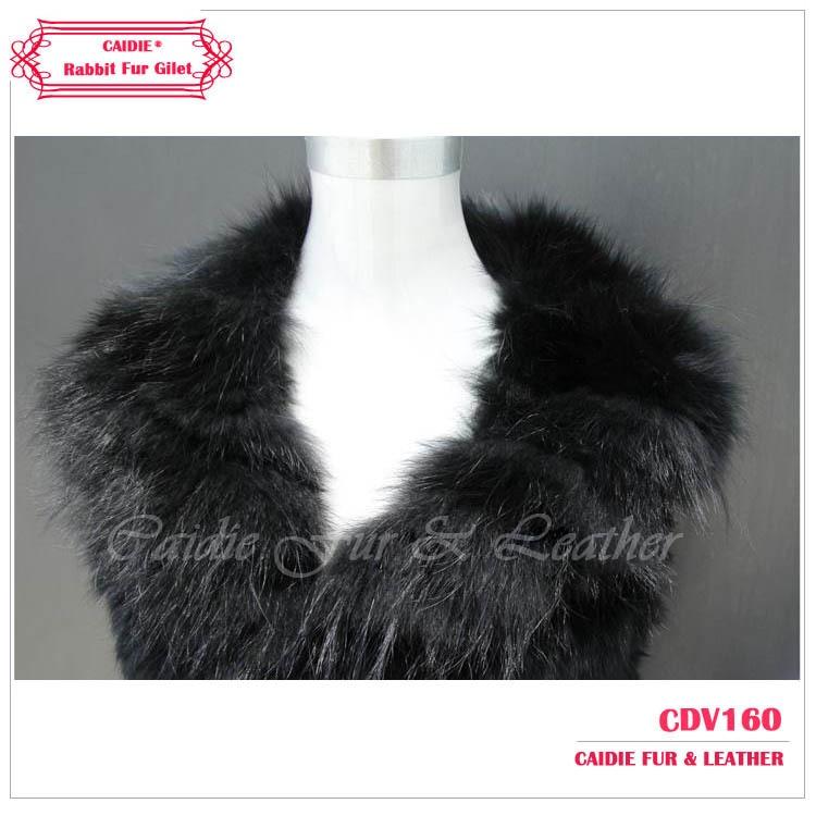 Printemps 2018 Tricoté black Brown Gilet De Grey Lapin Avec Vêtements Femmes Parage Dames Mode Réel Fourrure Natural Renard Pour natural qB4vSqPr