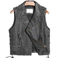 Genuine Leather Vest Men Motorcycle Rider Motor Male Real Cowhide Leather Vest Slim Brand Leather Vest Jacket Brand Waistcoat