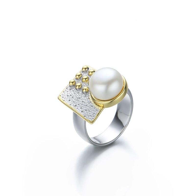 Baroque perle anneaux pour femmes bijoux 925 en argent sterling 10mm perle anneaux or fait à la main design géométrique face avant naturel - 6
