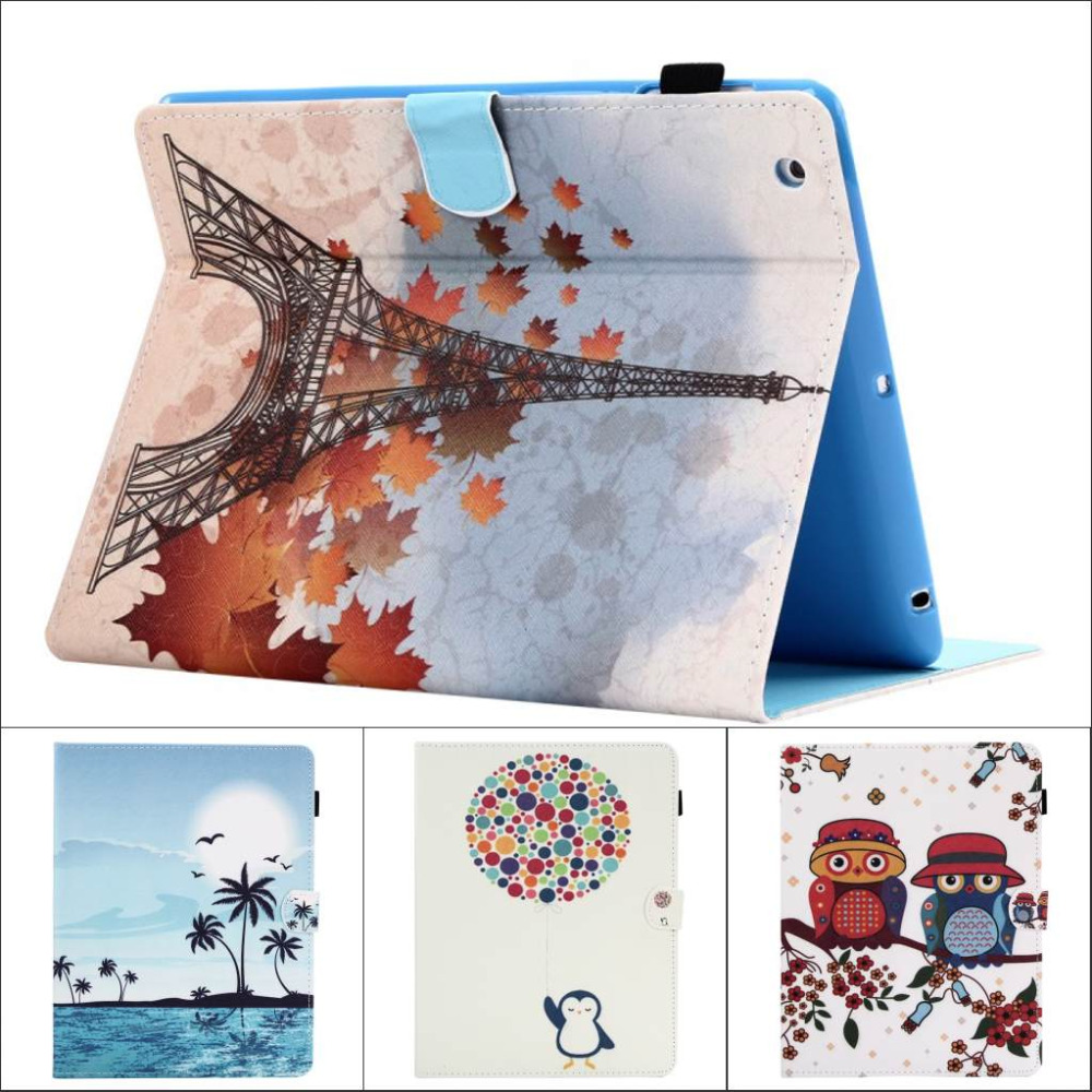 Fashion Flower Tree Owl wallet Card Slot Pu leather stand holder Cover Case for ipad air for ipad air 1 with screen film
