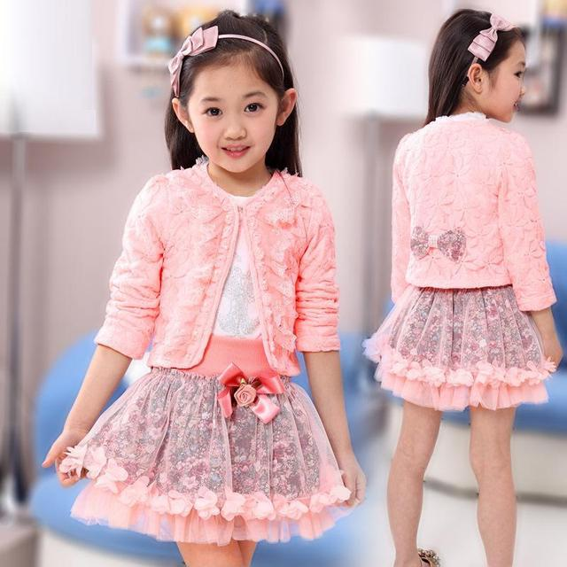 2016 niños de la manera ropa para niños conjuntos conjuntos de flores niña 3 unidades Princesa lace ruffle cardigan tops tutu faldas trajes