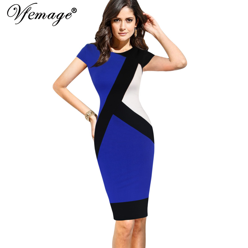 f2e75a2f09e3 US $10.99 |Vfemage Womens Elegant Optical Illusion Colorblock Contrast  Modest Slim Work Business Casual Party Sheath Pencil Dress 4725-in Dresses  from ...
