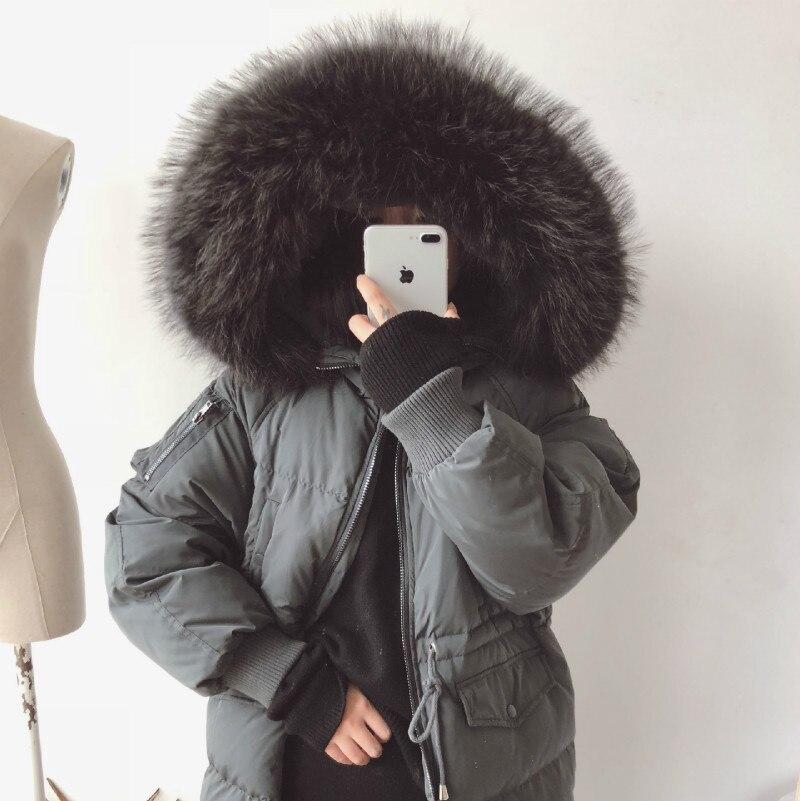 Épaissir Chaud Laveur 2017 Qualité De Luxe Fourrure Real Vestes noir Snowoutwear Collier Vers Femmes ardoisé Bas Big Beige Long Le Haute Manteau Femelle Raton RRZqv