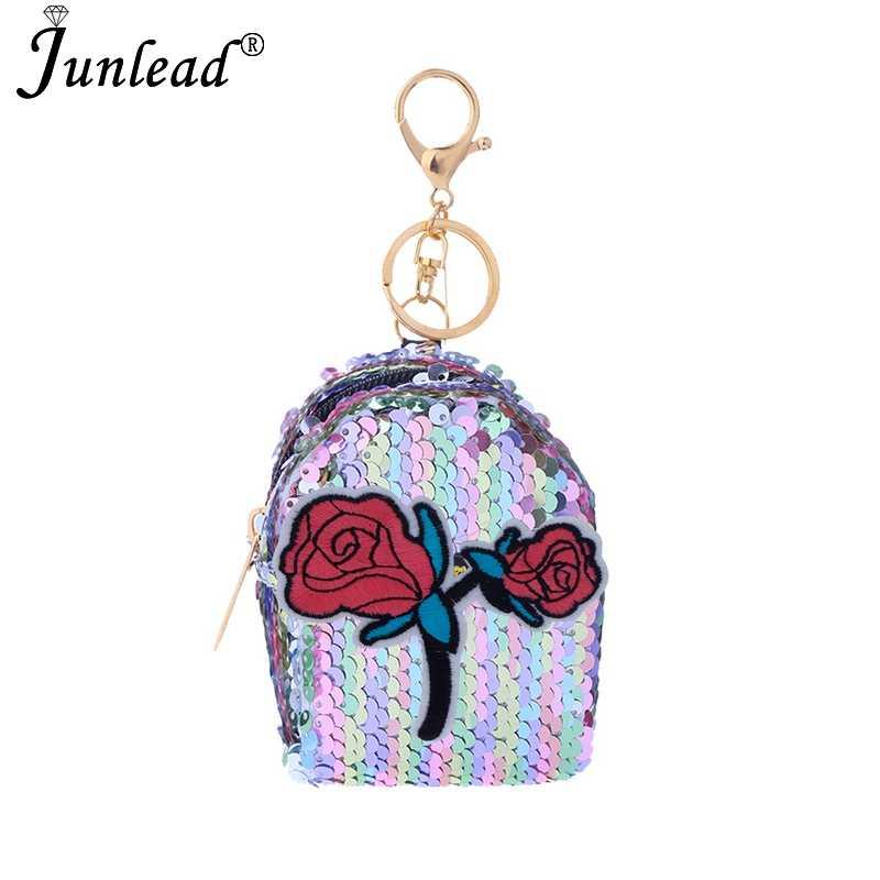 ... Junlead Sparkly sequines women rose flower coin purse pocket change  wallet for girls Key Chains cute ... 9d28147af4ce