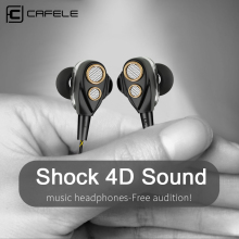 CAFELE 4D Professional Enthusiast In-Ear Wired Earphone Dual Dynamic Metal Heavy Bass High fidelity Sound Quality Music Earphone muses01 dip8 1pcs lot audio j fet input fever dual op amp high fidelity sound quality