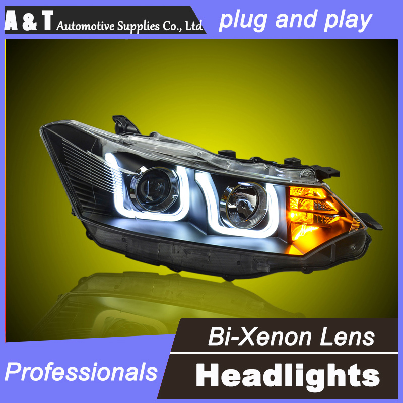 car styling For Toyota Vios headlight assembly U angel eyes 2014 For Vios bi xenon lens h7 with hid kit 2pcs. 2pcs purple blue red green led demon eyes for bixenon projector lens hella5 q5 2 5inch and 3 0inch headlight angel devil demon