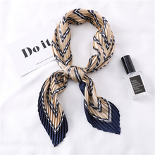 2019 New Square Chiffon Crinkle Scarf for Women Silk Neck Scarves Designer Striped Print Lady Pleated Scarfs Head Band