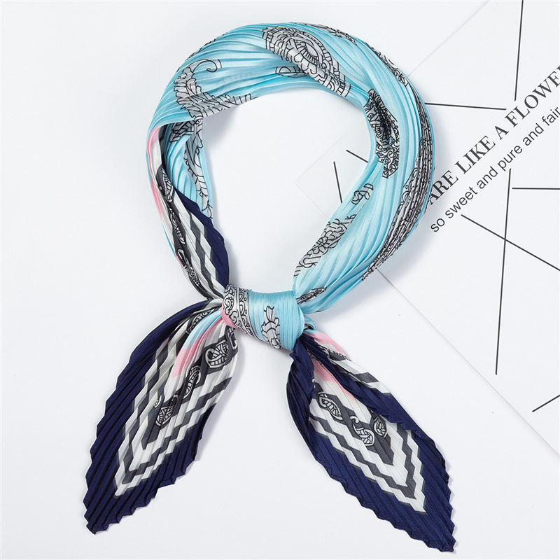 Women 39 s Small Silk Square Scarf Crinkle Hair Scarfs for Ladies Pleated Scarves Printed Female Bandana Foulard 100 30CM in Women 39 s Scarves from Apparel Accessories