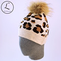 2016 Women Winter Hat With Fur Ball Knitted Pom Pom Hat Autumn Winter Wool Knitted Beanies Hats Leopard Custom Pompom Beanie Hat