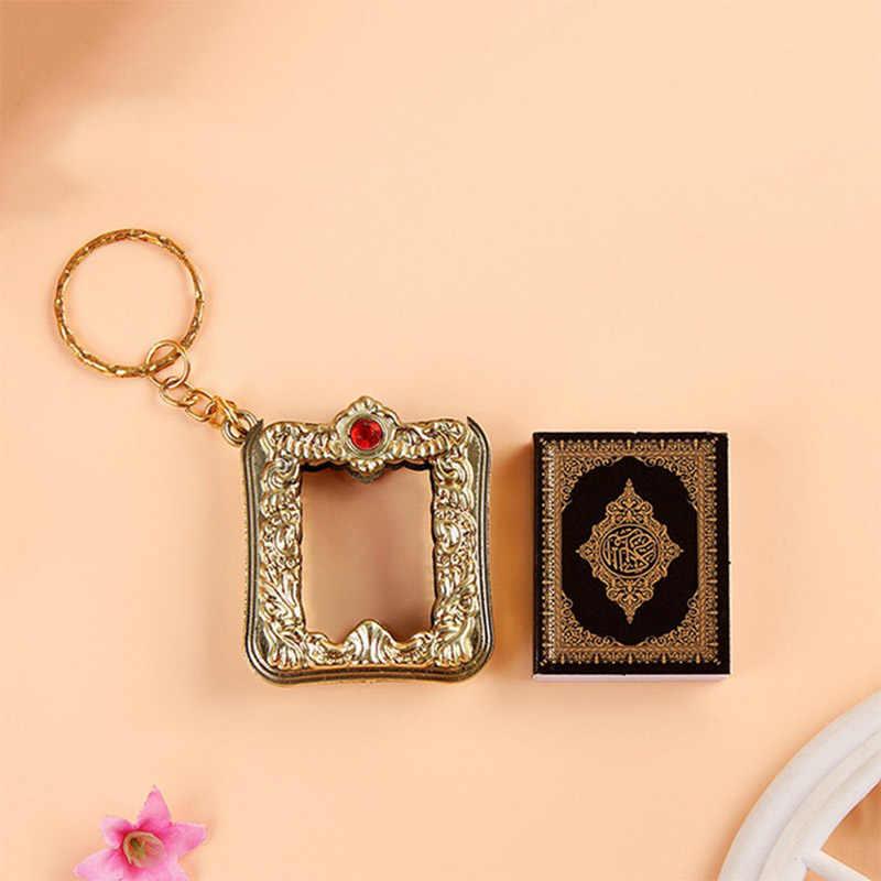 1PC islamska arka koran książka wisiorek breloczek popularny muzułmanin wysokiej jakości prawdziwy papier brelok religijny Mini może czytać breloczek