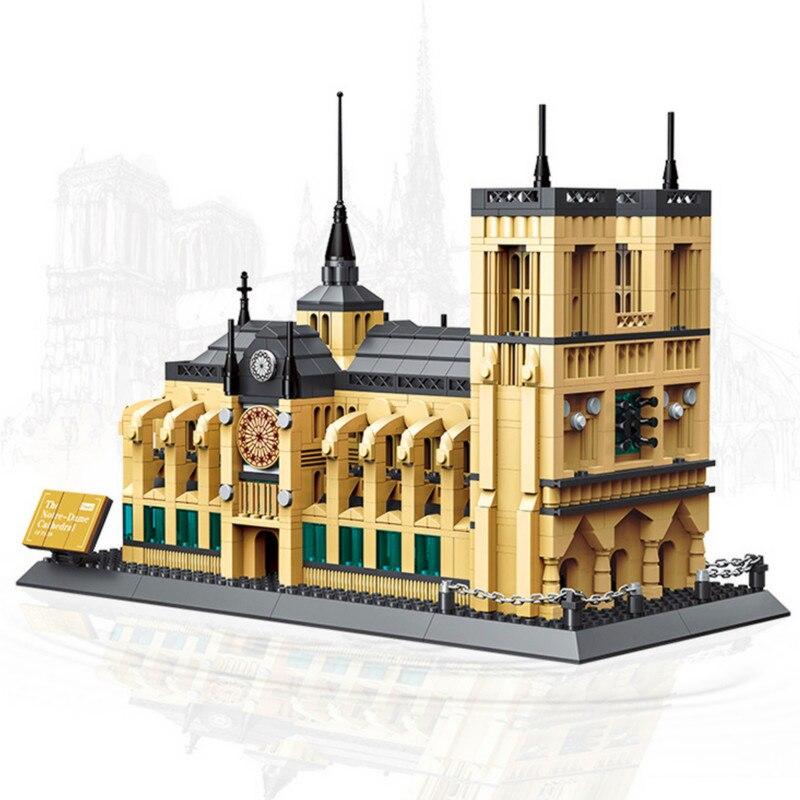 WANGE 5210 Arquitetura Notre-Dame de Paris Building Blocks Define Bricks Classic Skyline Da Cidade Modelo Dom Brinquedos Compatível