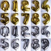 Фотография Number Foil Balloons Kawaii Gold Silver Digital Air Helium Balloon Kids Birthday Wedding Christmas Festival Party Home DIY Decor