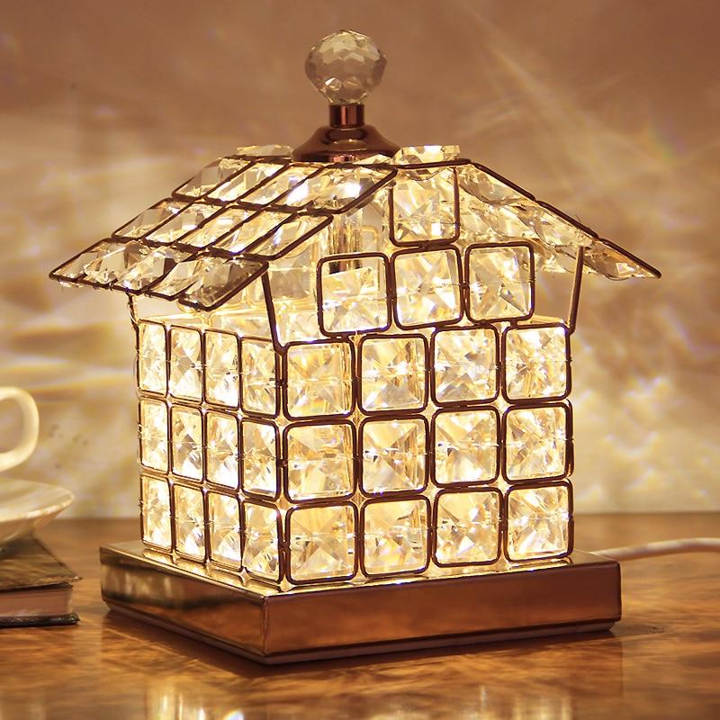 ФОТО Modern luxury Golden color crystal table lamp European style bedroom bedside lighting fixture lamp 220V