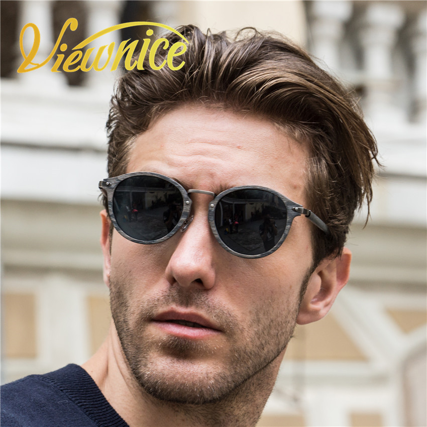 Viewnice new oculos wooden sunglasses herren Retro Classic Sonnenbrille aus Holz und Metall Polarized Super star hombre 7252