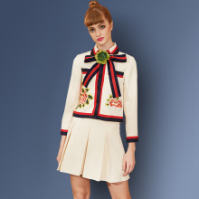 Women 2016 Autumn European Peppy Style Flower Applique Turn-down Color Jacket +Mini Skirt Embroidery Twin Set Outfit Suits