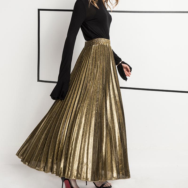 2019 primavera nova chegada de cintura alta acordeão saia plissada estilo coreano vintage saia faldas largas elegantes frete grátis