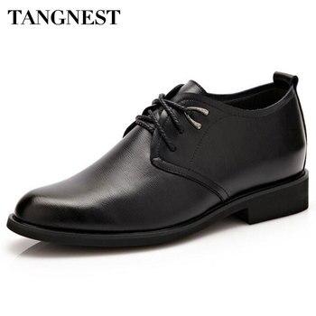 Tangnest Marka Erkek Oxfords 2017 Yeni Erkekler Elbise asansör ayakkabı Erkek Pu Deri 6 CM Artan Ayakkabı Adam Flats Boyutu 37 ~ 44 XMP744