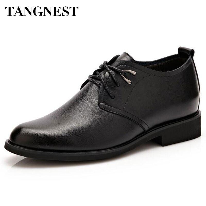 Tangnest de la marca de los hombres Oxfords 2017 Nuevo vestido de los hombres zapatos de elevador zapatos de hombre de cuero de la Pu de 6 cm mayor Zapatos Hombre pisos tamaño 37 ~ 44 XMP744