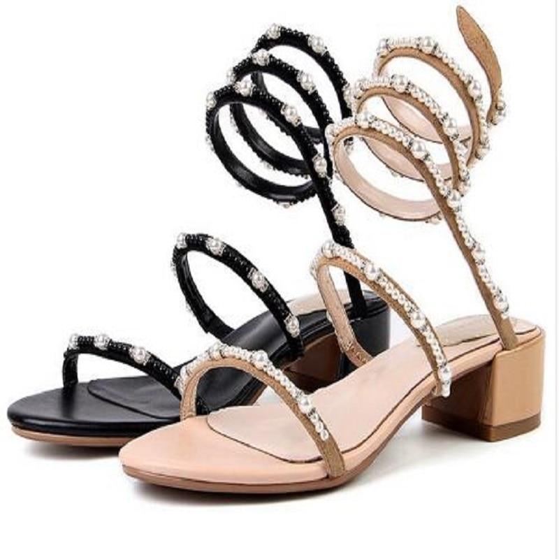 DIJIGIRLS kid suede pearl crystal bordered decorations women Rome princess slip on thick med heel sandals streetwear shoe