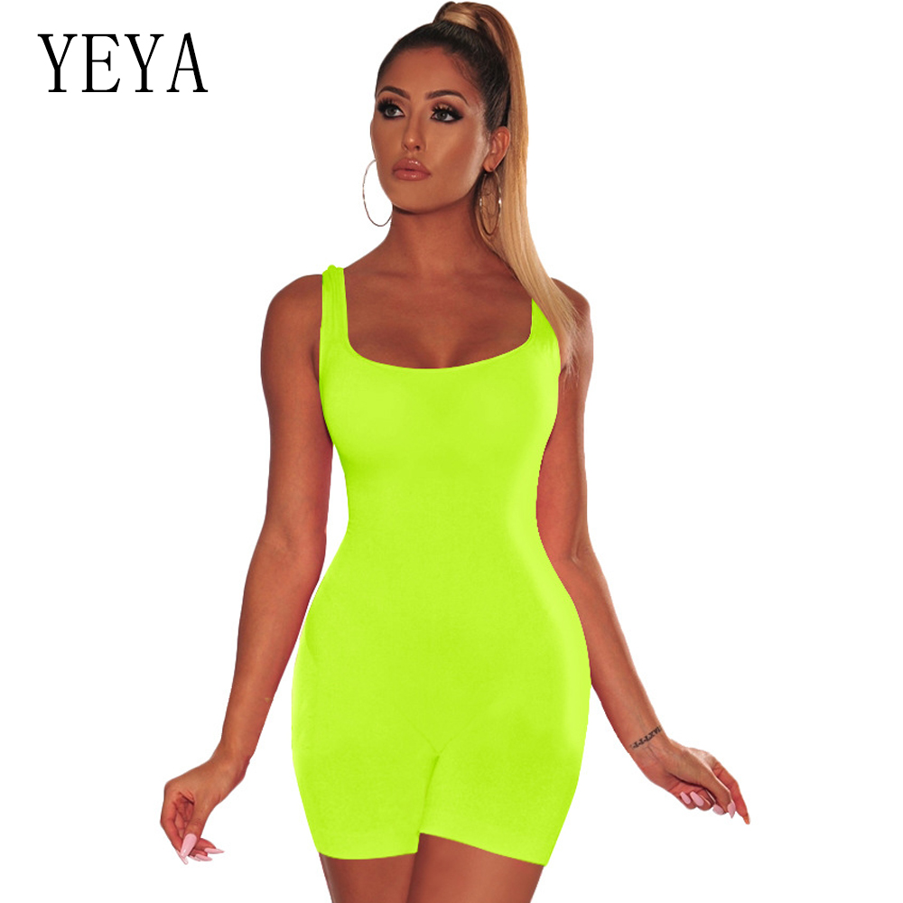 YEYA Sexy Bodycon Bodysuit Sleeveless Playsuit Streetwear Neon Green Summer One Piece Shorts Rompers   Jumpsuit   Women Overalls