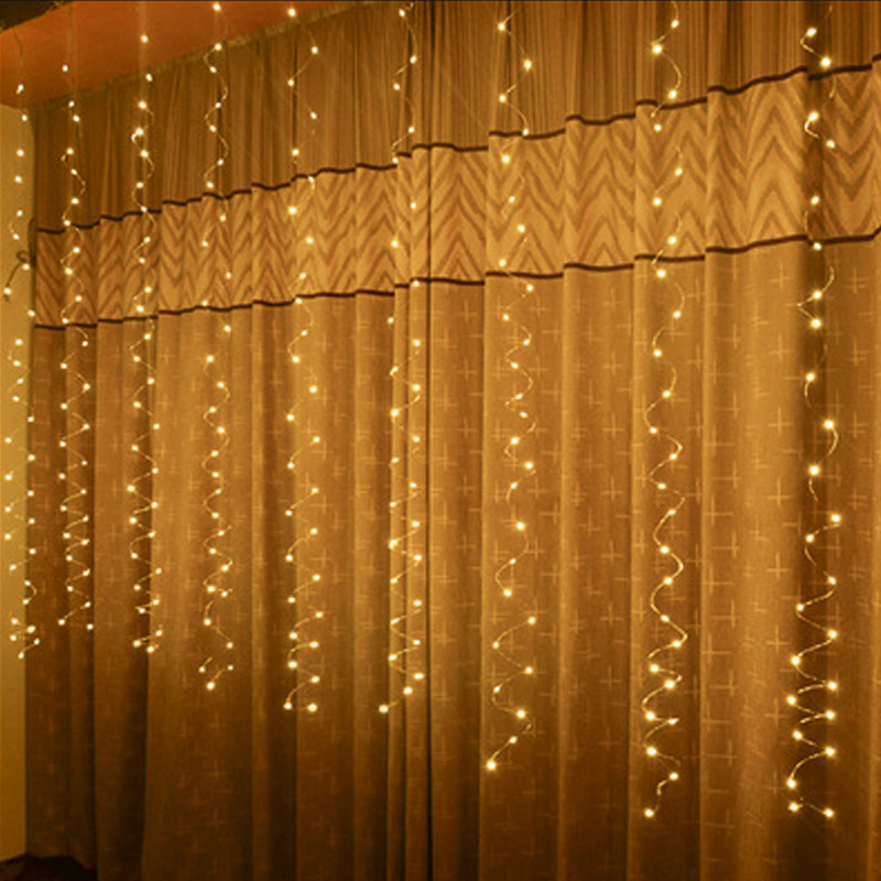 USB Copper Wire 3Mx3M LED Curtain String Light Waterproof Fairy Light With Outdoor Garland Xmas Party Holiday Garden Decor