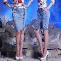 As mulheres Saia Jeans 2016 Novo Estilo Moda Feminina Verão Alta Botão Saia de cintura Femme Azul Mini Meninas Saias Para As Mulheres S-XXL