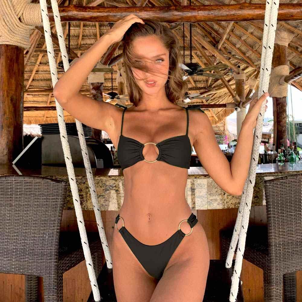 Сексуальный бикини 2019 Однотонный женский купальник с высокой талией купальник черные бикини стринги бикини Лето бикини maillot de bain femme