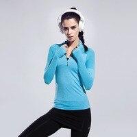 FLANDIS Yoga Top Sport Atmungs Shirt Frauen Langen Ärmeln Fitness Hälfte Reißverschluss Outdoor Lauf Dry Jogging Kleidung